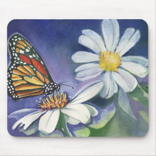 Monarch & Daisies Mouse Pad