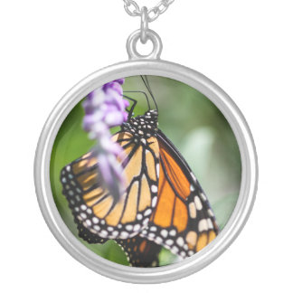 Monarch Danaus Plexippus Round Pendant Necklace