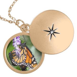 Monarch Danaus Plexippus Round Locket Necklace