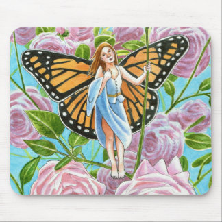 Monarch Fairy amongst the Roses Mouse Pad