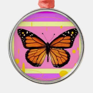 Monarch Girly Pink Design by Sharles Metal Ornament