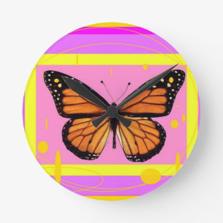 Monarch Girly Pink Design by Sharles Round Clock