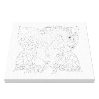 Monarch Horsefly Line Art Design Canvas Print