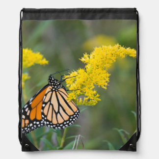Monarch on Goldenrod Drawstring Backpack