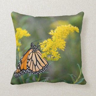 Monarch on Goldenrod Throw Pillow