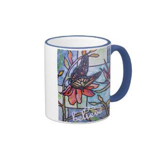 Monarch On Orange Flower Ringer Coffee Mug