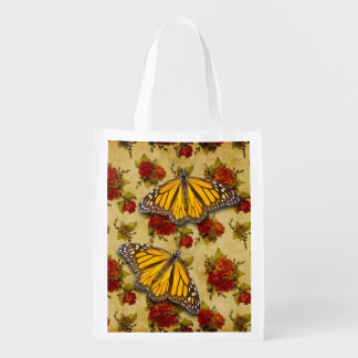 MONARCH ON ROSES GROCERY BAG
