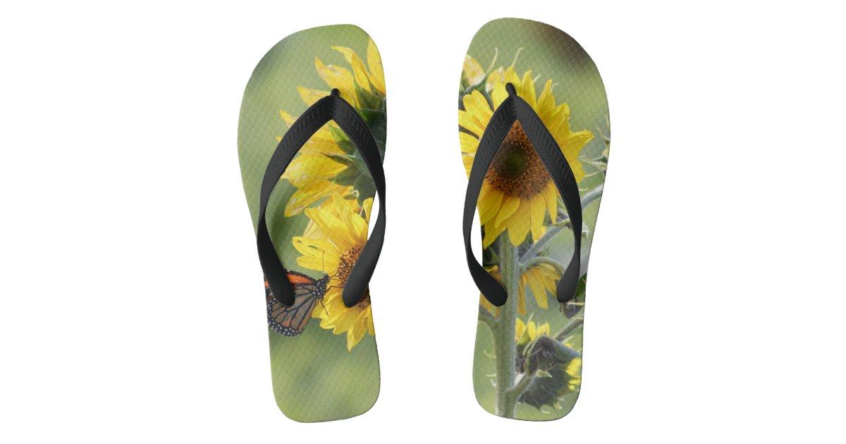 1d2a28687 Monarch on Sunflowers Flip Flop Sandals