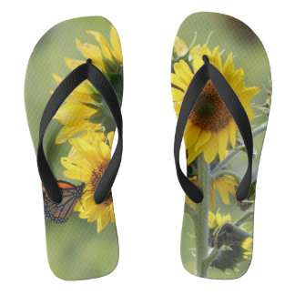 Monarch on Sunflowers Flip Flop Sandals Flip Flops