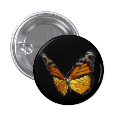 Monarch Orange Butterfly Flying Insect Pinback Button