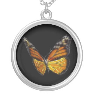 Monarch Orange Butterfly Flying Insect Round Pendant Necklace