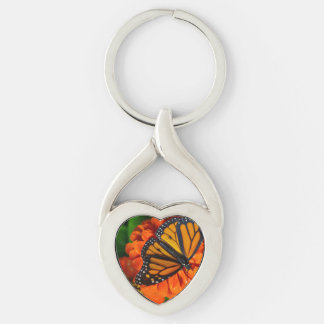 Monarch Silver-Colored Heart-Shaped Metal Keychain