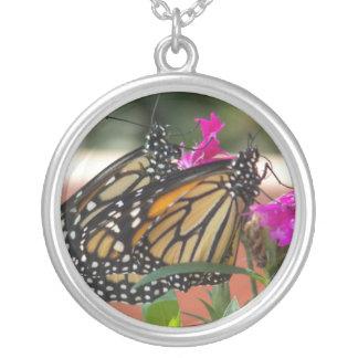 Monarch Twins #1-necklace Round Pendant Necklace