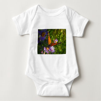 monarch with flwoers baby bodysuit