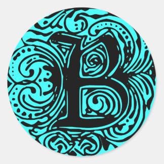 """Monarchia Black  """"B"""" Classic Round Sticker"""