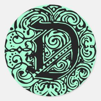 """Monarchia Black  """"D"""" Classic Round Sticker"""