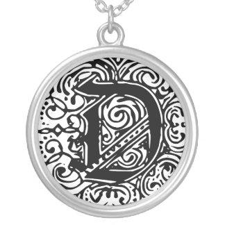"""Monarchia Black """"D"""" Round Necklace"""