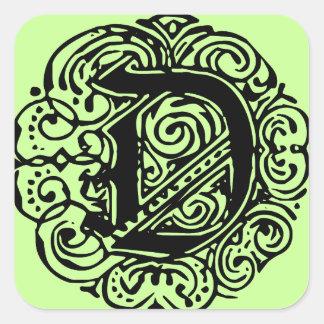 """Monarchia Black  """"D"""" Square Sticker"""