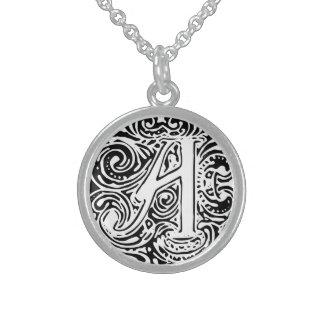 "Monarchia Black Letter ""A"" Necklace Ster Silver"