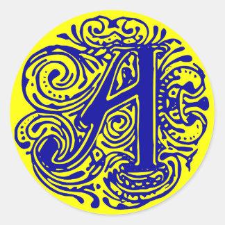 """Monarchia Blue """"A"""" Classic Round Sticker"""