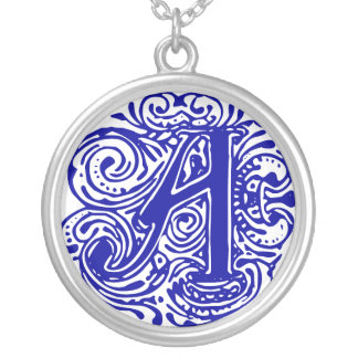 """Monarchia Blue """"A"""" Silver Plated Necklace"""