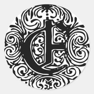 """Monarchia """"E"""" Classic Round Sticker"""