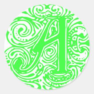 """Monarchia Green  """"A"""" Classic Round Sticker"""