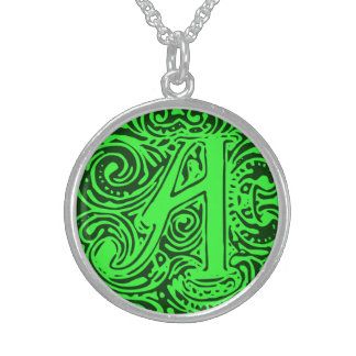 """Monarchia Green Letter """"A"""" Round Necklace"""