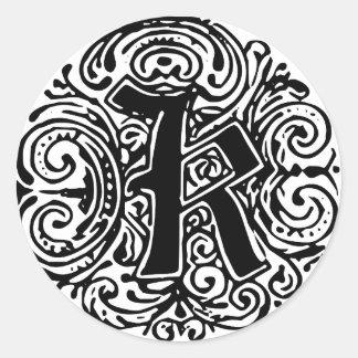 """Monarchia """"K"""" Classic Round Sticker"""