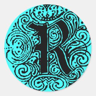 """Monarchia """"R"""" Classic Round Sticker"""