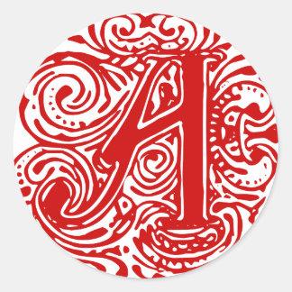 """Monarchia Red """"A"""" Classic Round Sticker"""