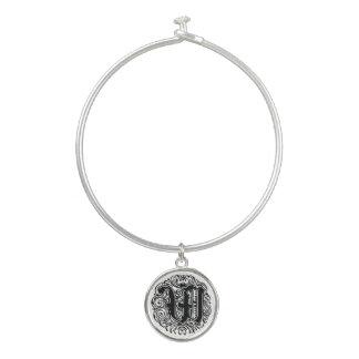 "Monarchia ""W"" Monogram Bangle Bracelet with Charm"