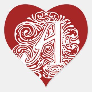 "Monarchia White Letter ""A"" Heart Sticker"