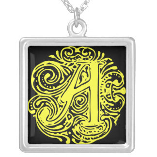 """Monarchia Yellow""""A"""" Silver Plated Necklace"""