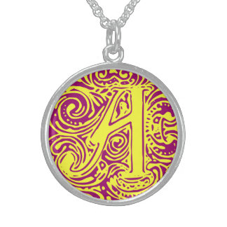 """Monarchia Yellow Letter """"A"""" Round Necklace"""