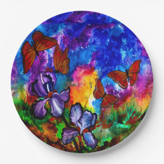Monarchs at Sunset Paper Plates 9 Inch Paper Plate