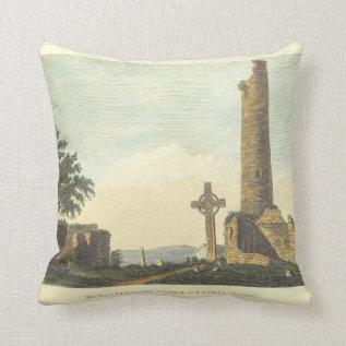 Monasterboice Church Tower Co Louth Ireland 1833 Throw Pillow at Zazzle