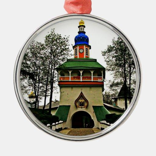 Monasterio de Pechory Rusia Adorno Navideño Redondo De Metal
