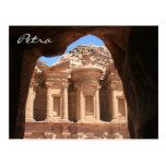 monastery glimpse petra postcard