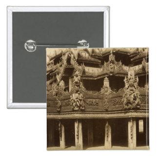 Monastery or Pagoda, detail, probably Mandalay Button