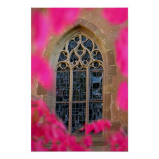 Monastery window framed into Maulbronn with Wilder Posters