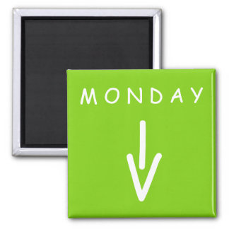 Monday Arrow Yellow Green Square Magnet by Janz