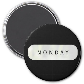 Monday Black Large Round Magnet by Janz