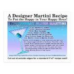 Monday Blues Martini Recipe Postcard