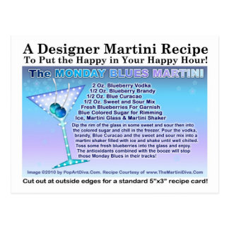 Monday Blues Martini Recipe Postcard