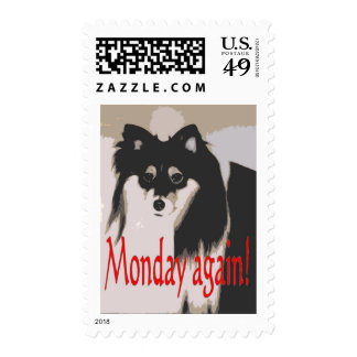 Monday comedic cartoon character stamp