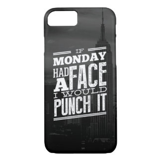 Monday Face Black and White Skyline Typography iPhone 8/7 Case