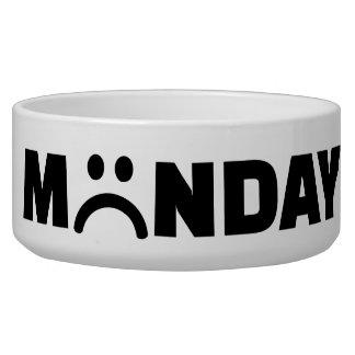 Monday sad smiley dog water bowl