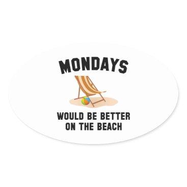Beach Themed Mondays On The Beach Oval Sticker