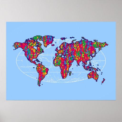 monde del arte que adorna la impresión poster